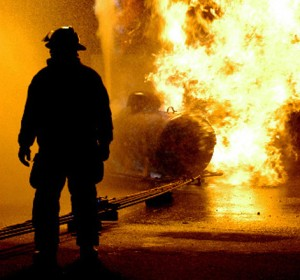 Bedrijfsongeval-brand